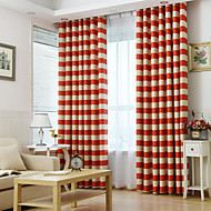 To paneler Window Treatment Rustikk Moderne Neoklassisk Middelhavet Europeisk , Stribe Stue Polyester Materiale gardiner gardinerHjem