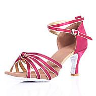 baratos Sapatilhas de Dança-Mulheres Sapatos de Dança Latina Tecido Sandália / Salto Presilha Salto Cubano Personalizável Sapatos de Dança Escuro Marron / Vermelho /