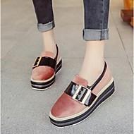 Dame-PU-Flat hæl-Komfort-一脚蹬鞋、懒人鞋-Fritid-Svart Grønn Rosa