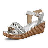 tanie Small Size Shoes-Damskie Obuwie Brokat Wiosna Lato Creepersy Klub Buty Sandały Platforma Koturn Creepersy Okrągły Toe Odsłonięte palce Stras Cekin Klamra