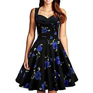 hesapli -Kadın's Parti / Gece Atletik sofistike Sokak Şıklığı Diz-boyu Elbise Çiçekler Kolsuz Yaz V Yaka Yüksek Bel