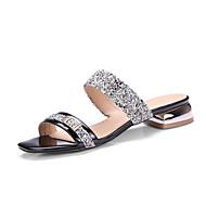 baratos Sapatos Femininos-Mulheres Sapatos Couro Ecológico / Sintético Verão / Outono Chanel Sandálias Salto Baixo Ponta quadrada Lantejoulas para Social Dourado /