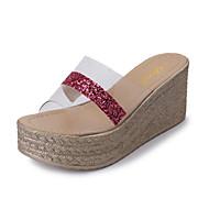baratos Sapatos Femininos-Mulheres Sapatos Couro Ecológico Primavera / Verão Conforto Sandálias Salto Plataforma Dedo Aberto Preto / Prateado / Rosa claro
