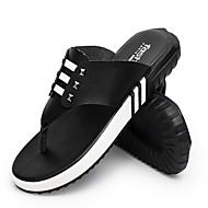Bărbați Papuci & Flip-flops Pantof cu Berete Piele Vară Casual Toc Plat Alb Negru 2.5 - 4.5 cm
