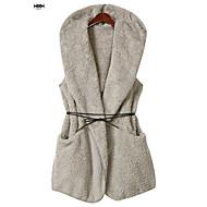 Damen Standard Weste-Lässig/Alltäglich Solide Ständer Ärmellos Baumwolle Frühling Mittel Mikro-elastisch