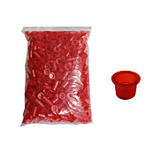 Solong Tattoo 1000 pcs Tattoo Inks Cups Plastic Caps Medium Size Red Color TC102-2