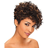 Short Curly Black and Brown mix Wig African American Wig For Black Women Haircut Synthetic Highlight Natural Wig