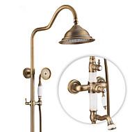 Starožitný Země Moderní Pouze sprcha Otáčecí Keramický ventil Single Handle dva otvory Starožitná měď , Sprchová baterie