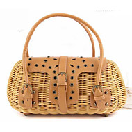 cheap Bags-Women's Bags Straw Tote Rivet for Event/Party Casual Formal Office & Career Outdoor All Seasons Beige Brown Dark Brown