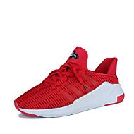 Erkek Spor Ayakkabısı Rahat Hafif Tabanlar Bahar Sonbahar Tül Yürüyüş Atletik Günlük Bağcıklı Düz Topuk Siyah Gri Kırmzı Düz