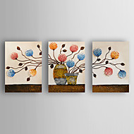 Hand-Painted  Abstract Flowers Set of 3 Canvas Oil Painting With Stretcher For Home Decoration Ready to Hang