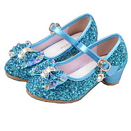 Girls' Heels Basic Pump PU Spring Fall Dress Basic Pump Crystal Bowknot Low Heel Silver Blue 1in-1 3/4in