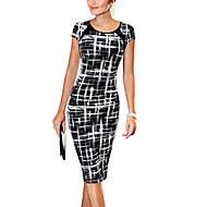 Kadın's Çalışma Pamuklu Bandaj Elbise - Ekose, Desen Diz-boyu / İnce
