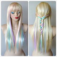 Naisten Synteettiset peruukit Suojuksettomat Pitkä Suora Vaaleahiuksisuus Raidoitetut hiukset Otsatukalla Cosplay-peruukki Halloween