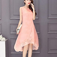 Women's Plus Size Batwing Sleeve Loose Dress - Solid Colored Summer Cotton Black Pink Purple XXL XXXL XXXXL
