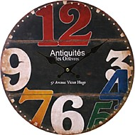cheap Rustic Wall Clocks-Antique Casual Traditional Country Retro Office/Business Wood Round Indoor,Battery