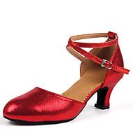 """billige Moderne sko-Dame Latin Kunstlær Sandaler Innendørs Spenne Tykk hæl Gull Svart Sølv Rød 1 """"- 1 3/4"""" Kan ikke spesialtilpasses"""