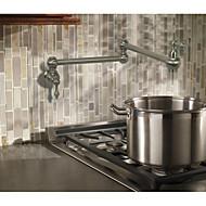 Nykyaikainen Moderni Kantri Pot Filler Integroitu Laajallle ulottuva Pyörivä Keraaminen venttiili Kaksi kahvaa yksi reikä Harjattu nikkeli