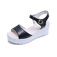 Kadın Sandaletler Yürüyüş Kulüp Ayakkabı PU Bahar Yaz Sonbahar Günlük Toka Dolgu Topuk Platform Beyaz Siyah 3inç-3 3/4inç