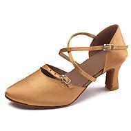 billige Moderne sko-Dame Sko til latindans Sateng Sandaler / Høye hæler Spenne / Sløyfe / Kryssdrapering Kubansk hæl Kan spesialtilpasses Dansesko Svart /
