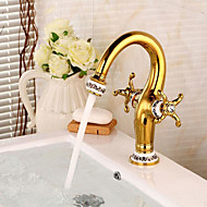 Country Centerset Widespread Pre Rinse with  Ceramic Valve Two Handles One Hole for  Ti-PVD , Bathroom Sink Faucet