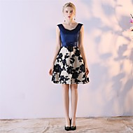 A-Line Scalloped Knee Length Satin Chiffon Cocktail Party Dress with Bow(s) by Embroidered bridal