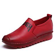 Damă Pantofi Flați Primăvară Toamnă Pantof cu Berete PU Casual Toc Gros Negru Rosu