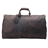 Unisex Bags All Seasons Cowhide Travel Bag for Casual Outdoor Dark Brown