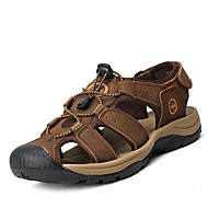 Men's Sandals Comfort Cowhide Spring Summer Fall Casual Outdoor Office & Career Dress Water Shoes Comfort Light Brown 1in-1 3/4in