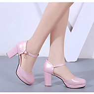Feminino Sapatos Couro Ecológico Verão Chanel Saltos Salto Grosso Para Casual Branco Preto Rosa claro