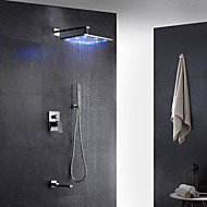 Modern Art Deco / Retro Muurbevestigd LED Regendouche Met uitneembare spray with  Messing ventiel Single Handle twee gaten for  Chroom ,
