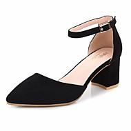 Feminino-Sandálias-Chanel-Salto Grosso--Couro Ecológico-Casual