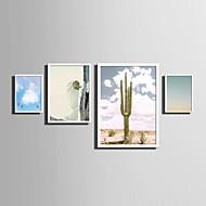 billige Innrammet kunst-Landskap Blomstret/Botanisk Ord & Sitater Innrammet Lerret Innrammet Sett Veggkunst,PVC Materiale Hvit Ingen Passpartou med ramme For