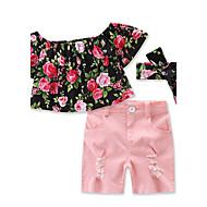 Pige Tøjsæt Blomstret Helfarve, Bomuld Sommer Kortærmet Blomster Pænt tøj Lyserød