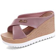 Ženske Papuče i japanke Sandale Udobne cipele PU Ljeto Kauzalni Hodanje Udobne cipele Kombinacija materijala Niska potpetica Crn Bež Pink