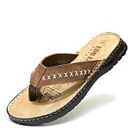 baratos Sapatos Masculinos-Masculino Sapatos Pele Verão Chanel Chinelos e flip-flops Sem Salto para Casual Café