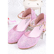 Girls' Heels Comfort Glitter Summer Casual Comfort Sparkling Glitter Chunky Heel Silver Blue Blushing Pink 1in-1 3/4in