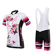 Malciklo Dame Kortærmet Cykeltrøje og shorts med seler - Hvid Blomster / botanik Britisk Cykel Tights Med Seler Trøje, Hurtigtørrende,