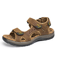 Herren Schuhe Leder Frühling Sommer Komfort Sandalen Klettverschluss Für Normal Dunkel Braun Hellbraun Khaki