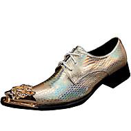 tanie Small Size Shoes-Męskie Buty Formalne Skóra nappa Wiosna / Jesień Zabytkowe Oksfordki Złoty / Impreza / bankiet