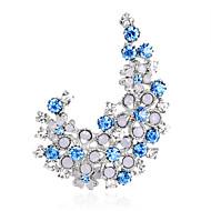 hesapli -Kadın's Broşlar Euramerican Moda Yapay Elmas alaşım Geometric Shape Mor Mavi Mücevher Uyumluluk Düğün Parti Özel Anlar Günlük
