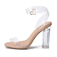 cheap Women's Sandals-Women's Shoes PVC Spring Summer Transparent Shoes Sandals Chunky Heel Block Heel Peep Toe Buckle for Casual Dress Party & Evening White