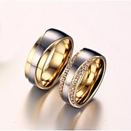 Žene Prstenje za parove Kubični Zirconia Sintetički dijamant Ljubav Vjenčan Zircon Titanium Steel Pozlaćeni Ljubav Jewelry Vjenčanje