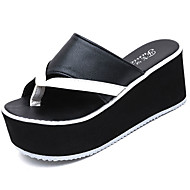 Women's Shoes PU Summer Creepers Slippers & Flip-Flops Wedge Heel Creepers Round Toe Split Joint For Casual White Black