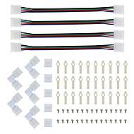 billige Lampesokler og kontakter-Leddstikkskrue og monteringsbrakett 5050 rgb stripe lyskontakt l form loddefri snap ned 4 leder ledet RGB-kontakt for rett vinkel cor