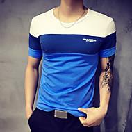 Homens Tamanhos Grandes Camiseta - Esportes Patchwork, Estampa Colorida Algodão Decote Redondo Azul e Branco Laranja XXXL / Manga Curta / Verão