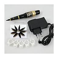 1set permanente maquiagem de sobrancelha tatuagem caneta máquina agulhas ponta kit de alimentação