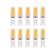 billige Kornpærer med LED-BRELONG® 10pcs 3W 300lm E14 G9 G4 LED-kornpærer T 1 LED perler COB Mulighet for demping Varm hvit Hvit 220-240V
