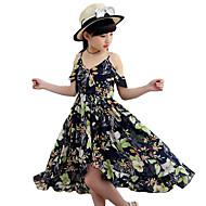 Dívka je Polyester Květinový Léto Šaty,Bez rukávů
