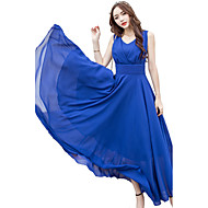 cheap -Women's Party Holiday Plus Size Casual Punk & Gothic Swing Dress,Solid V Neck Midi Sleeveless Rayon Polyester All Seasons High Rise